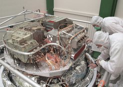 <p>This picture was taken during the integration of Herschel's three focal plane units – HIFI (front-right), PACS (front-left) and SPIRE (back) – in July 2007 in the Astrium facility at Friedrichshafen.</p>