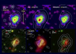 <p>In the top row, the molecular gas is shown as the backdrop image in color and the contours display the stellar light (from left to right: H band map, stellar mass, extinction corrected star formation rate). In the bottom row (center image), the backdrop shows the extinction and the white contours show the CO integrated flux map -- demonstrating how well the absorption seen in the rest-frame optical coincide with the CO emission. The high-resolution HST H-band maps show clumps of star formation, typical for galaxies at the peak of the cosmic star formation rate (see results from the high-redshift galaxy survey SINS) </p>
