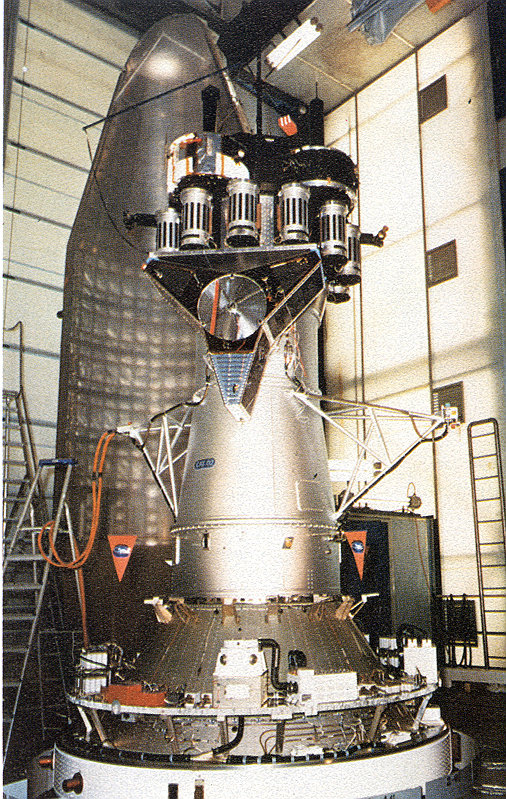 <p>mounted on top of the Ariane rocket</p>