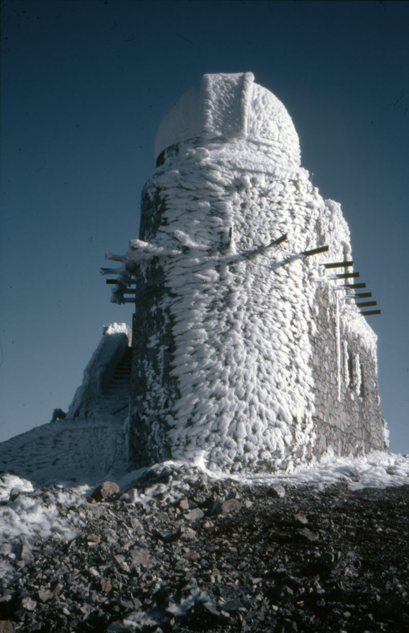 Wind and humid air from the Mediterranean Sea sometimes create bizarre ice sculptures at the observatory.