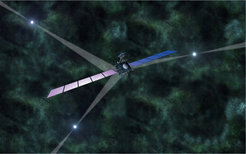 "<span class=""small"">Artist's impression of pulsar-based navigation of space probes in deep space. The characteristic time signatures of strongly magnetised and fast spinning neutron stars, called pulsars, are used as natural navigation beacons to determine the position and velocity of a spacecraft.</span>"
