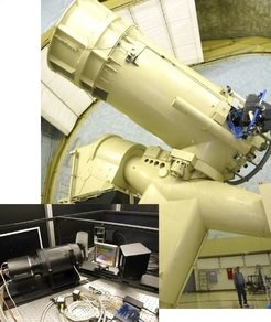 The VIRUS-W instrument (inset) mounted on the 2.7m telescope of the McDonald Observatory (right). The special configuration of the instrument allows the astronomers to simultaneously measure position and velocity for all stars in their field of view.