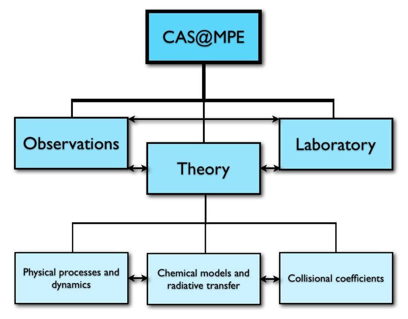 <br />The proposed interlinked structure of the Center for Astrochemical Studies at MPE (CAS@MPE). The main areas are: (1) Observations, (2) Theory, and (3) Laboratory. <br />(1) Observations, with current and future state-of-the art radio, millimetre, sub-millimetre and infrared telescopes. Main topics include interstellar medium, star formation, proto-planetary disk formation and evolution, planet formation, exoplanet atmospheres. <br />(2) Theory, inclusive of (i) dynamical models, to understand the physical processes regulating the observed source, which will then be included in the (ii) gas-grain chemical network to derive the chemical composition. Results from (i) and (ii) will be input in radiative transfer codes, to compare with observations and refine the models in case of mismatch. (iii) Collisional coefficient calculations, crucial for the radiative transfer/chemical models and data interpretation. <br />(3) Laboratory, which will focus on the measurements of molecular frequencies in the range of interest for observations with the new generation of telescopes.