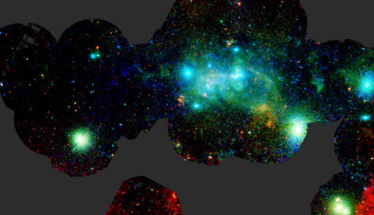 X-ray broad-band mosaic image of more than a hundred individual XMM-Newton observations within the central degree of the Milky Way. The colours indicate observations at different energies; this map covers a region about one thousand light years across. In addition to the X-ray emission from the regions around the supermassive black hole at the centre of the Milky Way this map reveals X-ray binaries, star clusters, supernova remnants, bubbles and superbubbles, non-thermal filaments and many other sources.