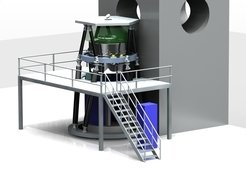 Illustration of how MICADO might look at the E-ELT pre-focal station during a stand-alone phase. The cryostat, fed by light from folded down from the telescope optical axis 6m above the Nasmyth platform. It is mounted above the co-rotating electronics cabinets, and can be accessed via a service platform.