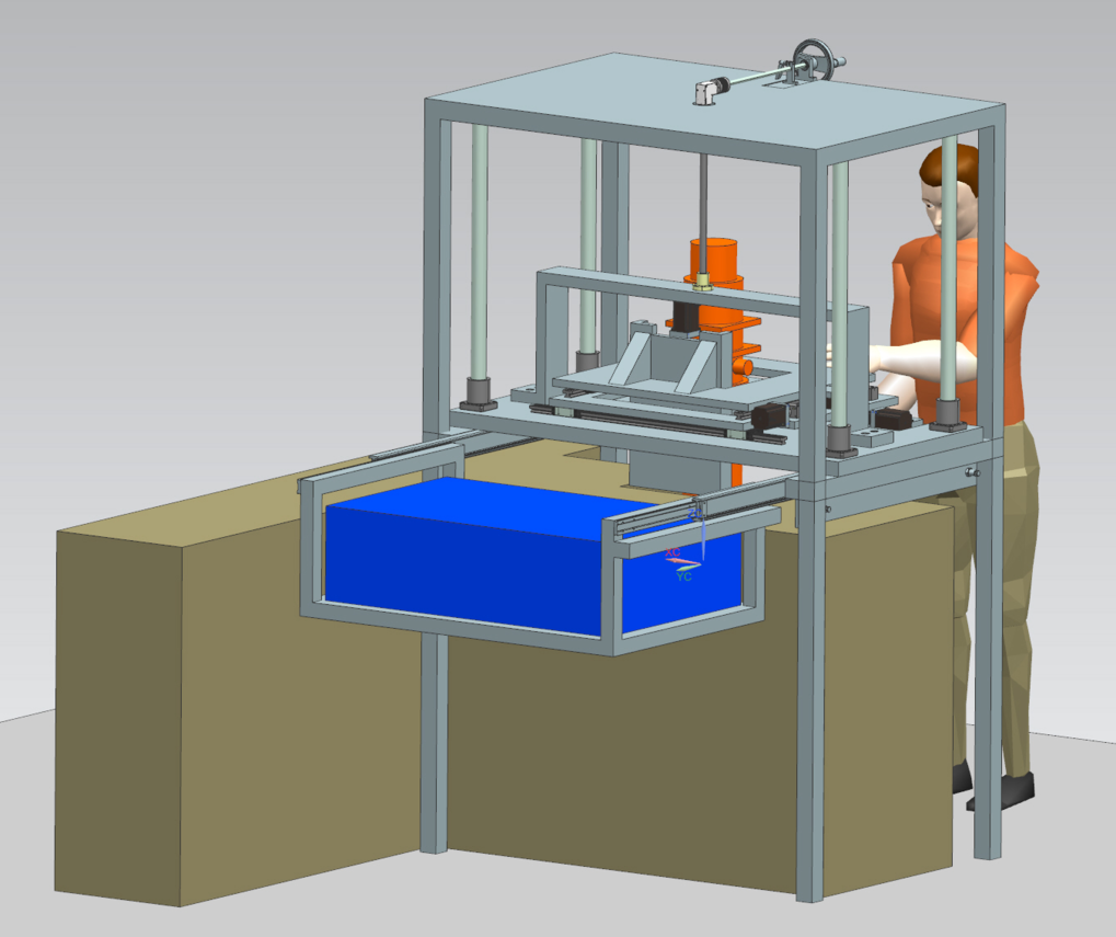 Computer-generated diagram of the FTIR/THz TDS rack system. The THz TDS instrument (blue) is shown mounted next to the FTIR spectrometer (tan), above which is situated a rack system capable of easily transferring a closed-cycle cryostat (orange). This rack system allows for the ease of measuring an ice sample at multiple wavelengths in near-realtime.