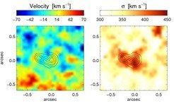 <p>These two kinematic maps show the velocity (left) and the velocity dispersion (right) at the centre of galaxy NGC 5419. The velocity dispersion of the galaxy overall is on the order of 350 km/s and reaches higher values in an extended region coincident with the position of the nuclei. Surprisingly, however, the velocity itself is very small at the centre of the galaxy, which most likely means that the orbital motion of the black holes is mainly perpendicular to the line-of-sight.</p>