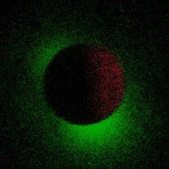 <p>In the centre of the image, you can see the moon in dark red, which eclipses bright source Sco-X1. This very rare constellation allows it to directly observe the faint X-ray halo of Sco-X1 (in green).</p>
