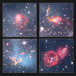<p>This montage shows four star-forming gas clouds in NGC 6822 observed with ALMA in unprecedented resolution. The data reveal that unlike in our own galaxy, the observed molecules are concentrated into small, dense cores of gas.</p>