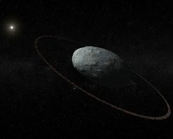 Artistic concept of Haumea and its ring system with correct proportions for the main body and the ring. The ring is located at a distance of 2287 km with respect to the center of the ellipsoidal main body and it is darker than the surface of Haumea. It was discovered by means of multiple telescopic observations of a stellar occultation in Europe on 21 January 2017.