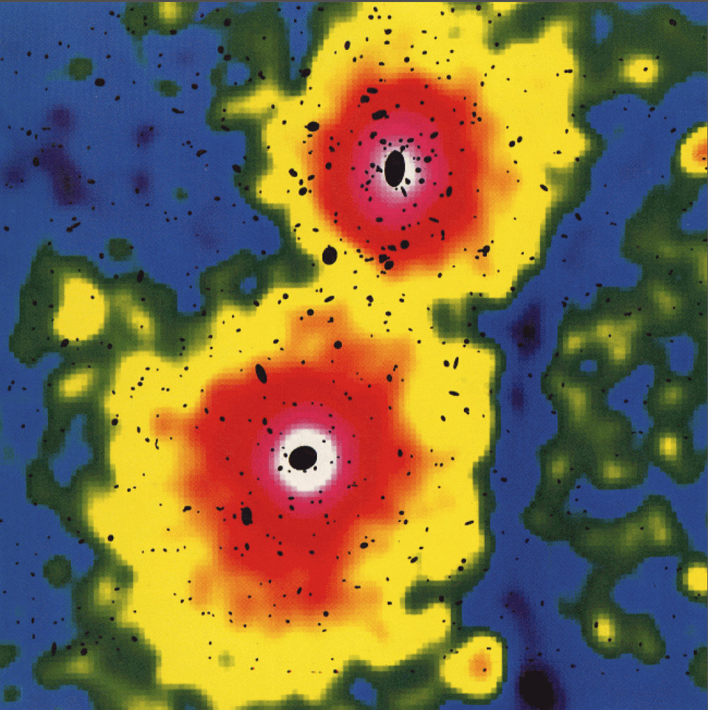 <p>Clusters of galaxies are the largest physical objects in the universe. The constellation A3528 shows two subclusters undergoing merging. The X-ray emission is shown in colours, the optical emission of the member galaxies is shown schematically by black ellipses. In a few hundred million years the merging process will be completed leading to a larger galaxy cluster.</p>