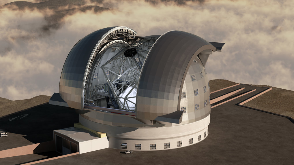 Concept drawing of ESO's European Extremely Large Telescope (E-ELT). <br />Credit: Swinburne Astronomy Productions/ESO.
