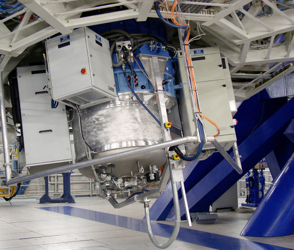 SINFONI attached to the Cassegrain focus of the VLT Yepun telescope. SINFONI has two parts, the SPIFFI Near Infrared Integral Field Spectrograph and the Adaptive Optics Module.