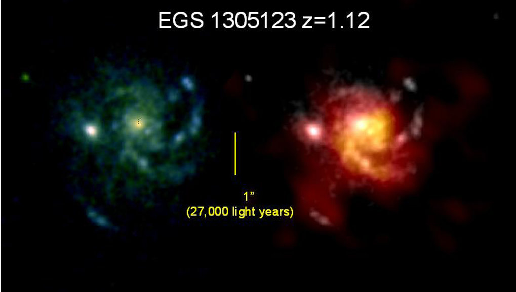 Spatially resolved optical and millimetre images of a typical massive galaxy at redshift z=1.1 (5.5 billion years after the Big Bang). For the first time these observations clearly showed that the molecular line emission and the optical light from massive stars trace a massive, rotating disk of diameter ~60,000 light years.