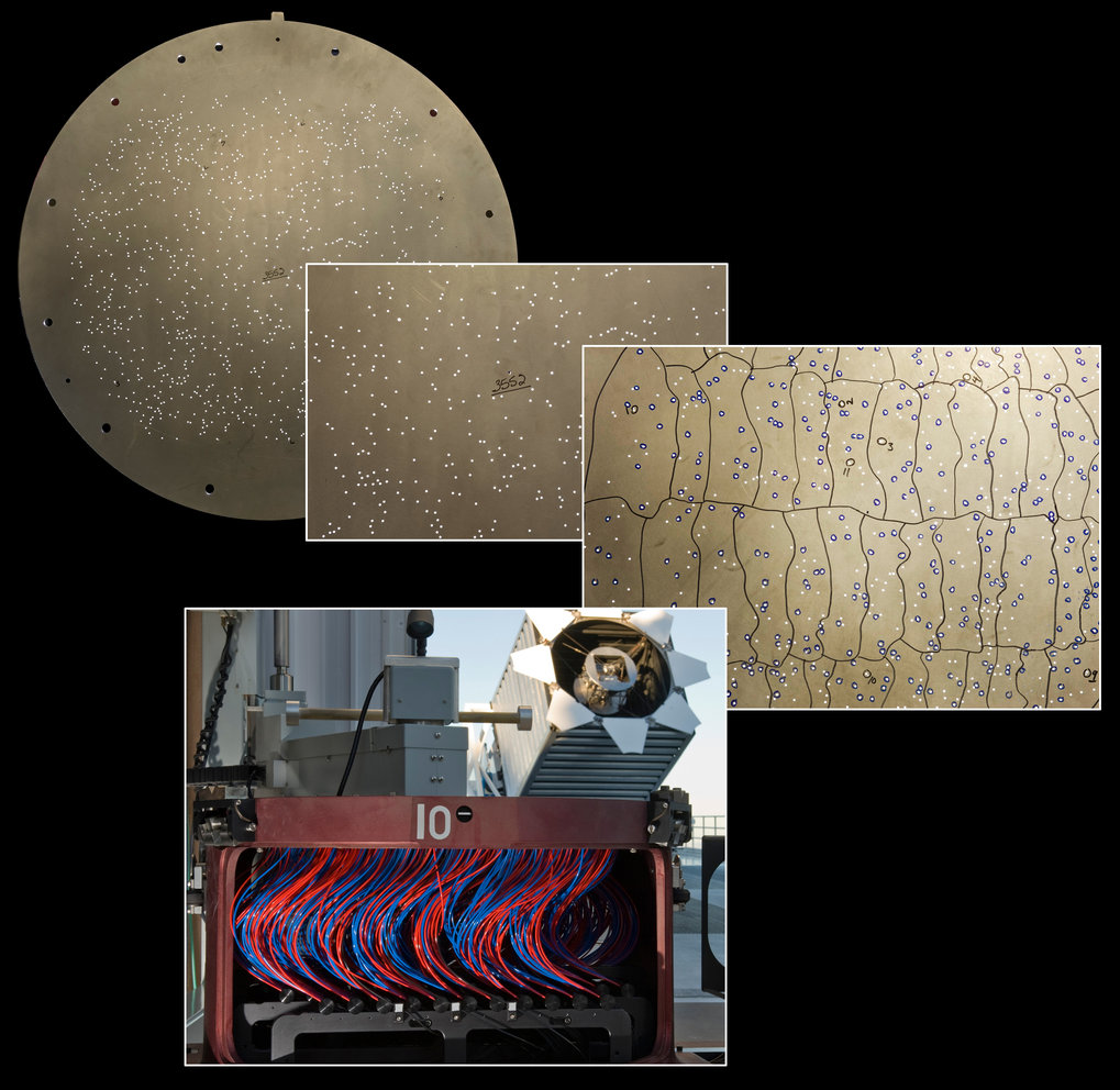 <p>The hardware that the SDSS used to measure distances to the thousands of galaxies in Data Release 9.</p> <p>The bottom image shows The Sloan Foundation Telescope. The top left image shows the metre-wide aluminium plate that the SDSS uses to measure more than 600 galaxy spectra at once. Each hole in the plate matches the position of a star or galaxy. A fiber optic cable (red and blue in the bottom image) connects each hole to the SDSS spectrograph.</p>