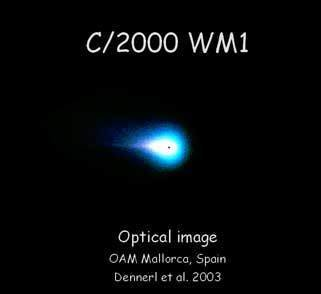 "<div style=""text-align: center;"">Optical image of Comet C/2000 WM1</div>"