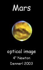 "<div style=""text-align: center;"">Optical image of Mars</div>"