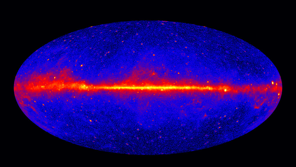 This view shows the entire sky at energies greater than 1 GeV based on five years of data from the LAT instrument on Fermi. Brighter colors indicate brighter gamma-ray sources.