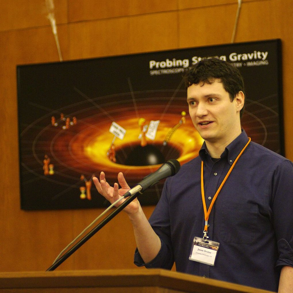 <p>Jason Dexter during a presentation about strong gravity.</p>