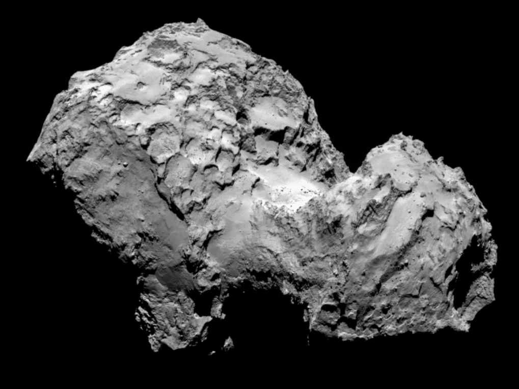 <p>Comet 67P/Churyumov-Gerasimenko by Rosetta's OSIRIS narrow-angle camera on 3 August from a distance of 285 km. The image resolution is 5.3 metres/pixel.</p>