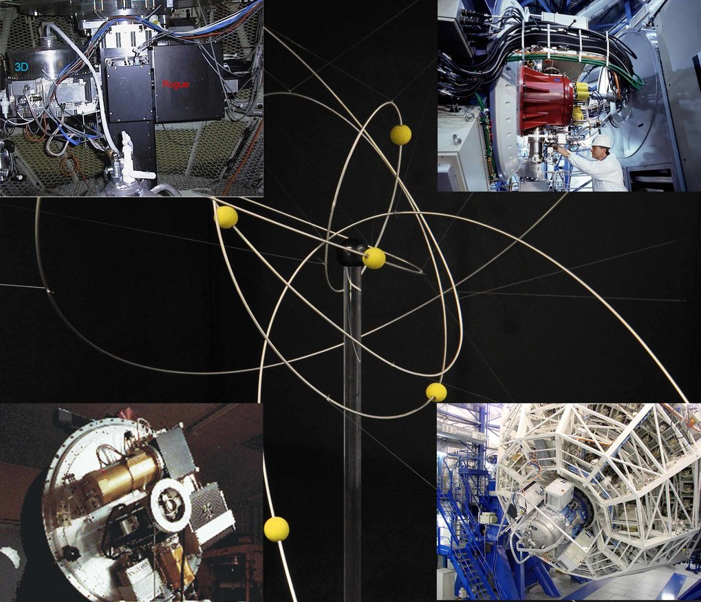 <p>Model of the stars and their orbits around the galactic centre (central image) and some of the instruments used for observations of the central region of our Milky Way: SHARP at the New Technology Telescope, 3D at the Anglo-Australian Telescope, NACO and SINFONI at the Very Large Telescope (from bottom left, clockwise).</p>