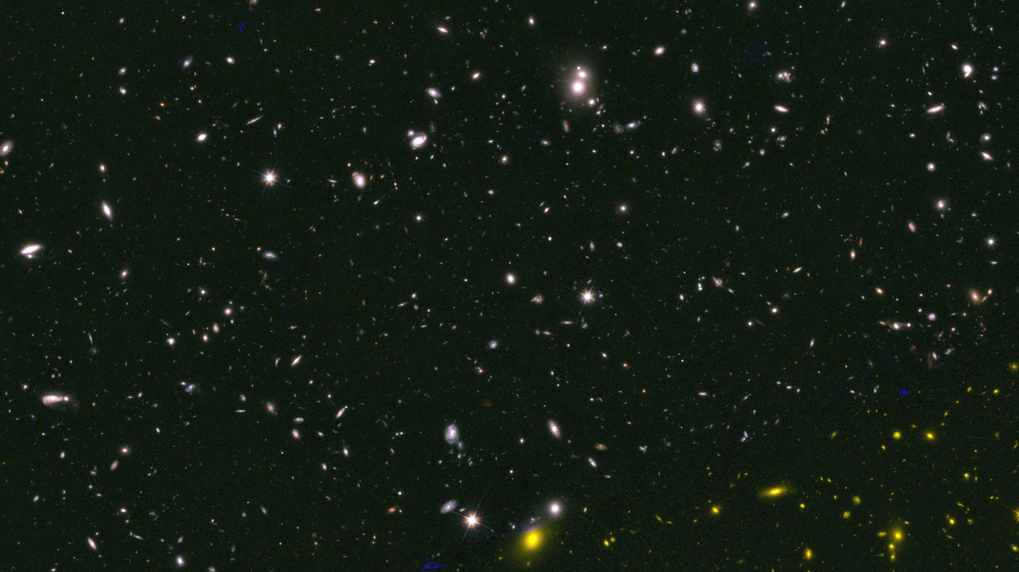 This colour composite image shows a small part of the CANDELS mosaic. Stijn Wuyts uses this survey and other observations to study the stellar populations and structure of galaxies at a lookback time of about 10 billion years.