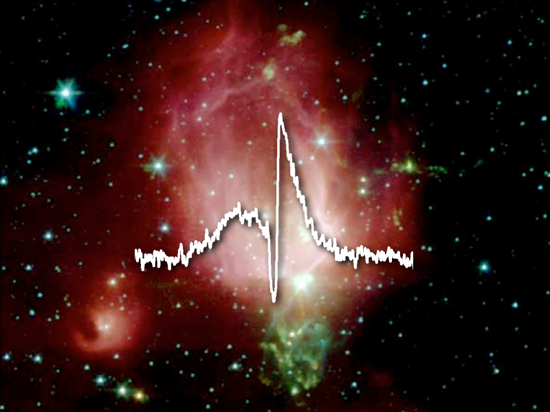 This image shows a Herschel spectrum of water superposed on a Spitzer image of a star-forming region.
