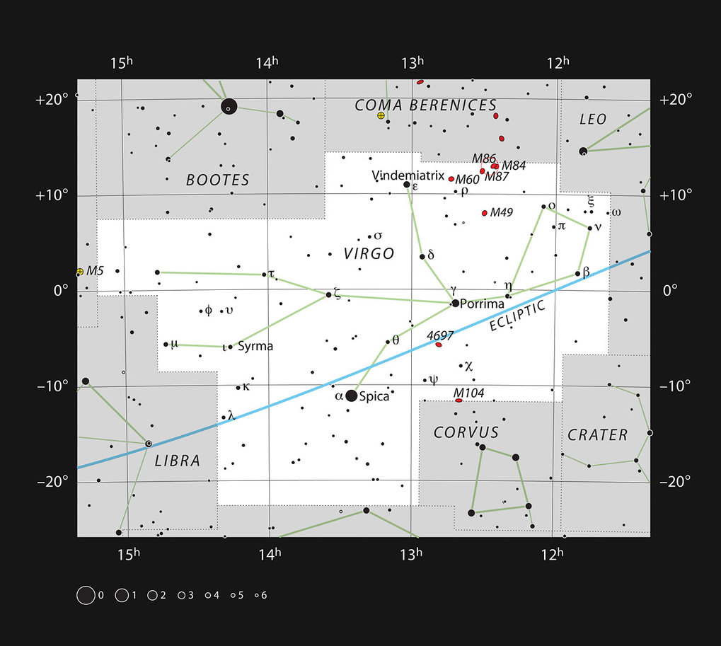 This chart shows the position of giant galaxy Messier 87 in the constellation of Virgo (The Virgin). The map shows most of the stars visible to the unaided eye under good conditions.