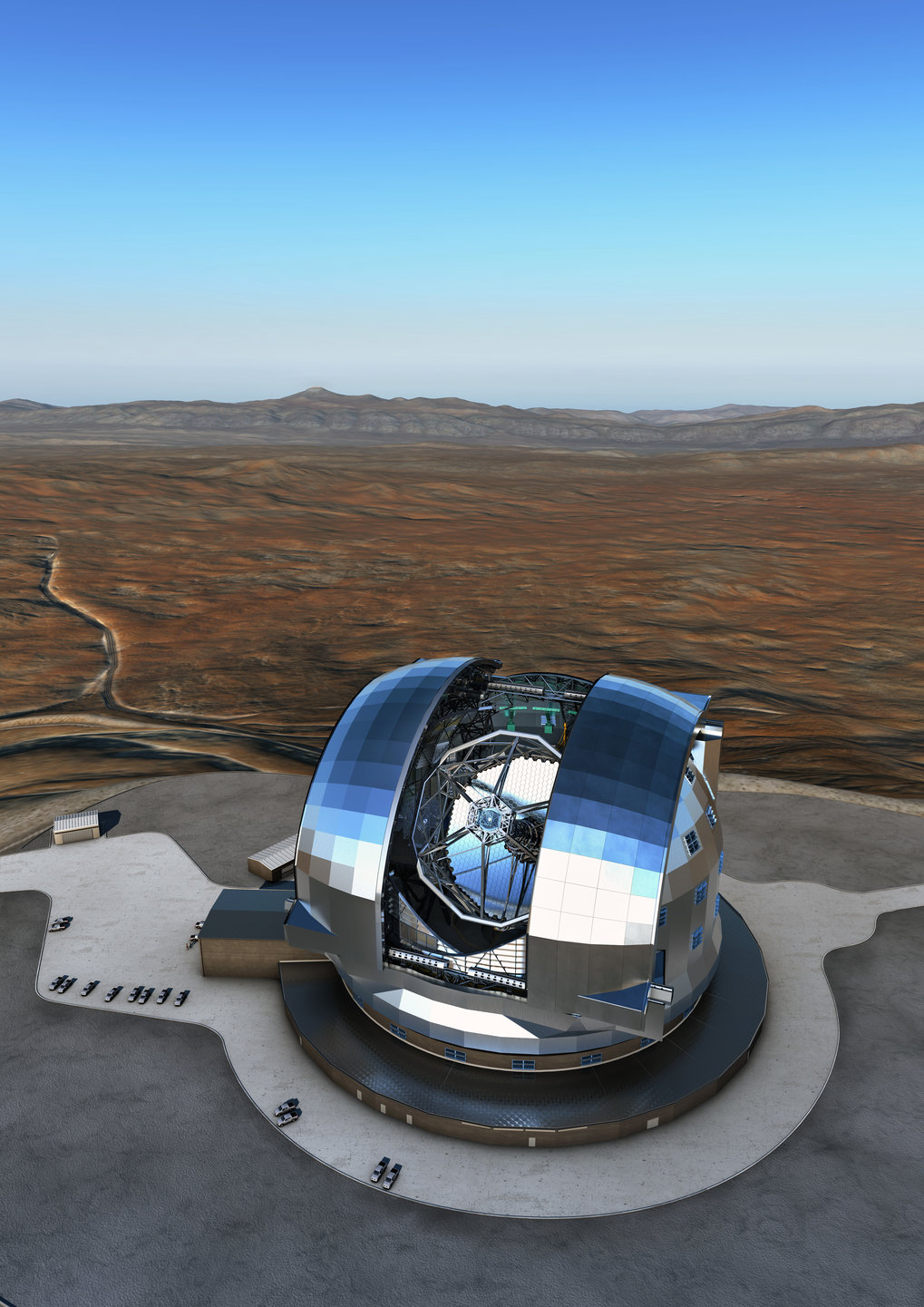 <p>An artist's rendering of the European Extremely Large Telescope (E-ELT) in the Chilean Atacama Desert. Construction started in 2014 and first light is targeted for 2024.</p>