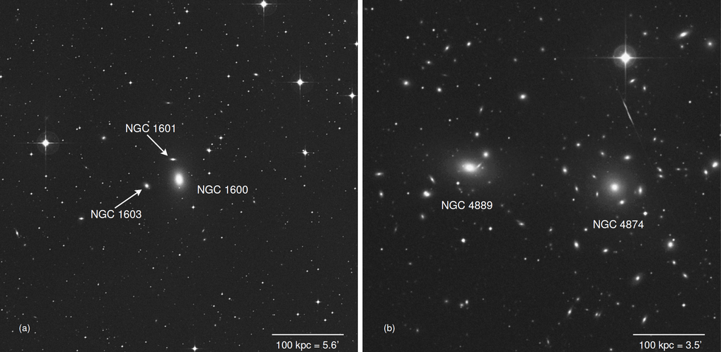 <p>The elliptical galaxy NGC 1600 (left) harbours a very massive black hole with 17 billion times the mass of the Sun. Unlike other galaxies, where very massive black holes have been found (like NGC 4889, right), it is the largest of a small group of galaxies and not in a rich cluster.</p>