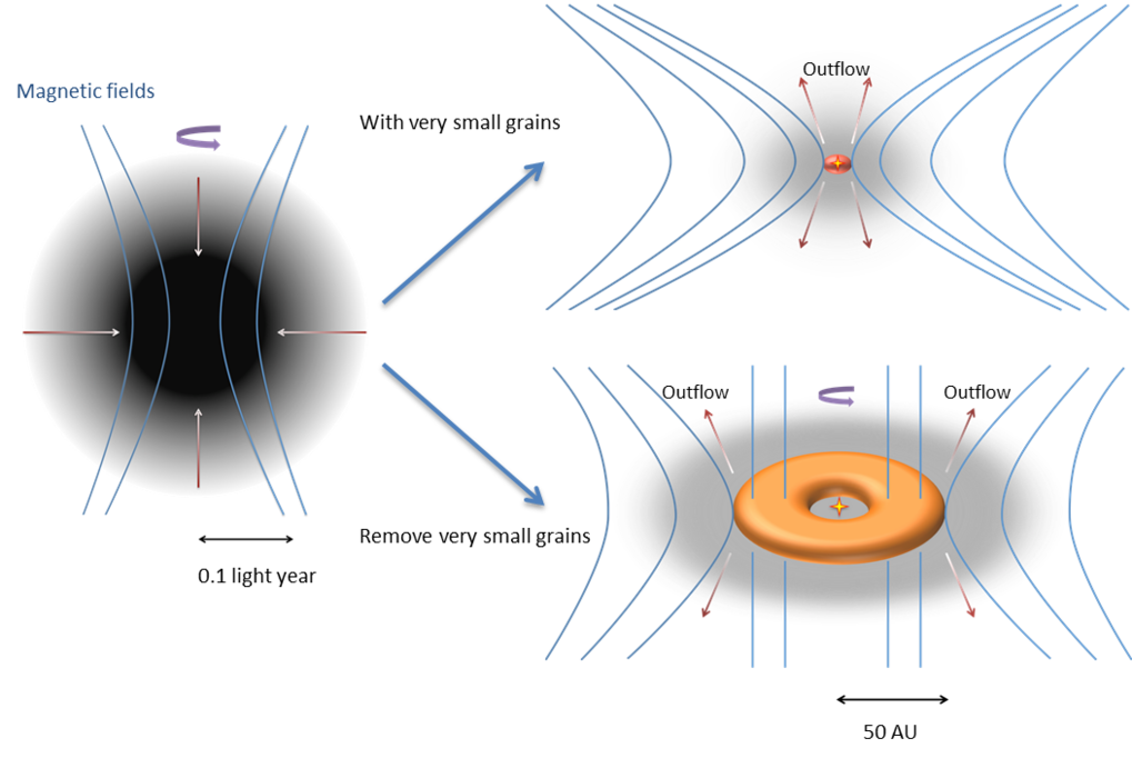 <p>The collapse of a rotating molecular cloud leads to the formation of a large rotationally supported disk if very small grains are removed (b). The strong magnetic braking in the presence of very small grains suppresses the formation of such a disk (a).</p>