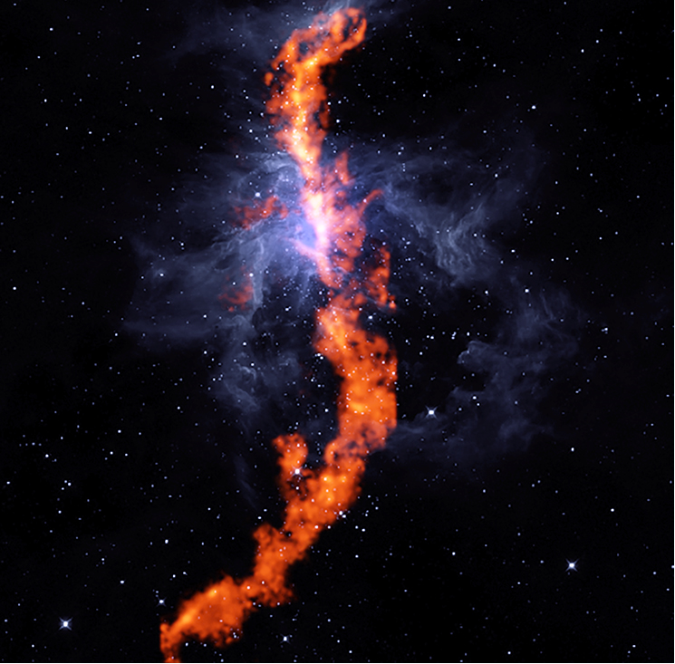 <p>In this composite image combining GBT radio and WISE infrared observations, the filament of ammonia molecules appear red and Orion Nebula gas appears blue.</p>