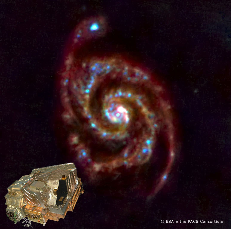 <p>Herschel opened its 'eyes' on 14 June 2009 and PACS (inset) obtained this image of M51, 'the whirlpool galaxy', for a first test observation.</p>
