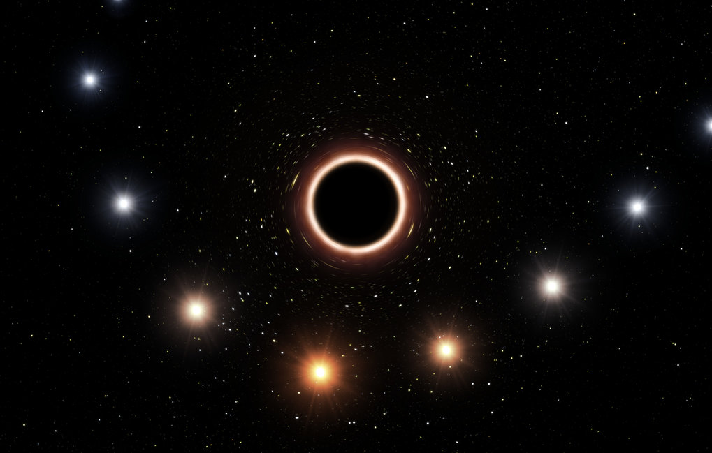 Artist's impression of the gravitational redshift of S2 when passing the supermassive black hole at centre of Milky Way.