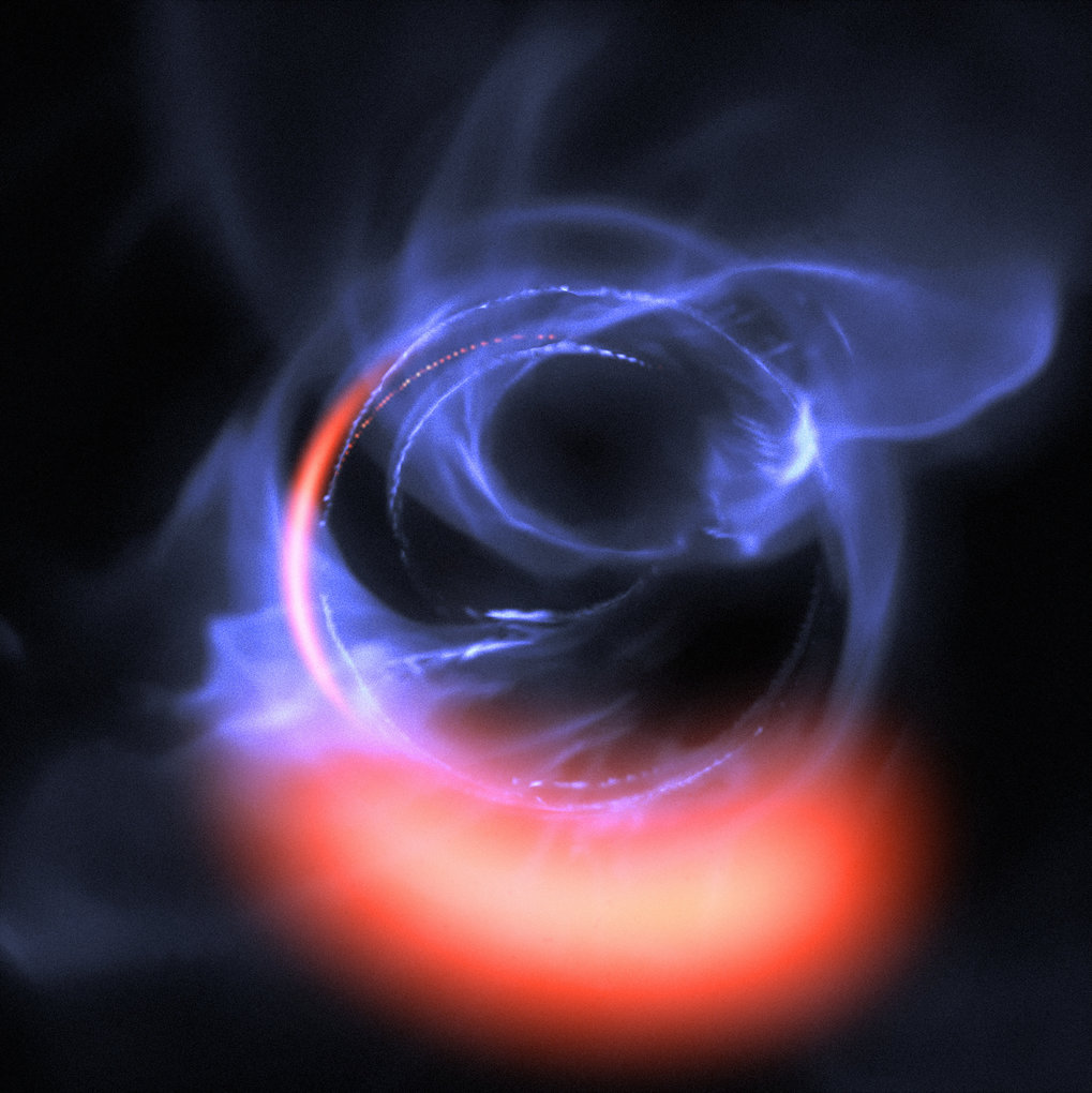 The exquisitely sensitive GRAVITY instrument has added further evidence to the long-standing assumption that a supermassive black hole lurks in the centre of the Milky Way. This visualisation uses data from simulations of orbital motions of gas swirling around at about 30% of the speed of light on a circular orbit around the black hole.
